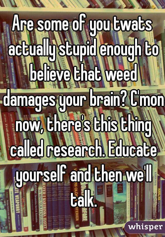 Are some of you twats actually stupid enough to believe that weed damages your brain? C'mon now, there's this thing called research. Educate yourself and then we'll talk.