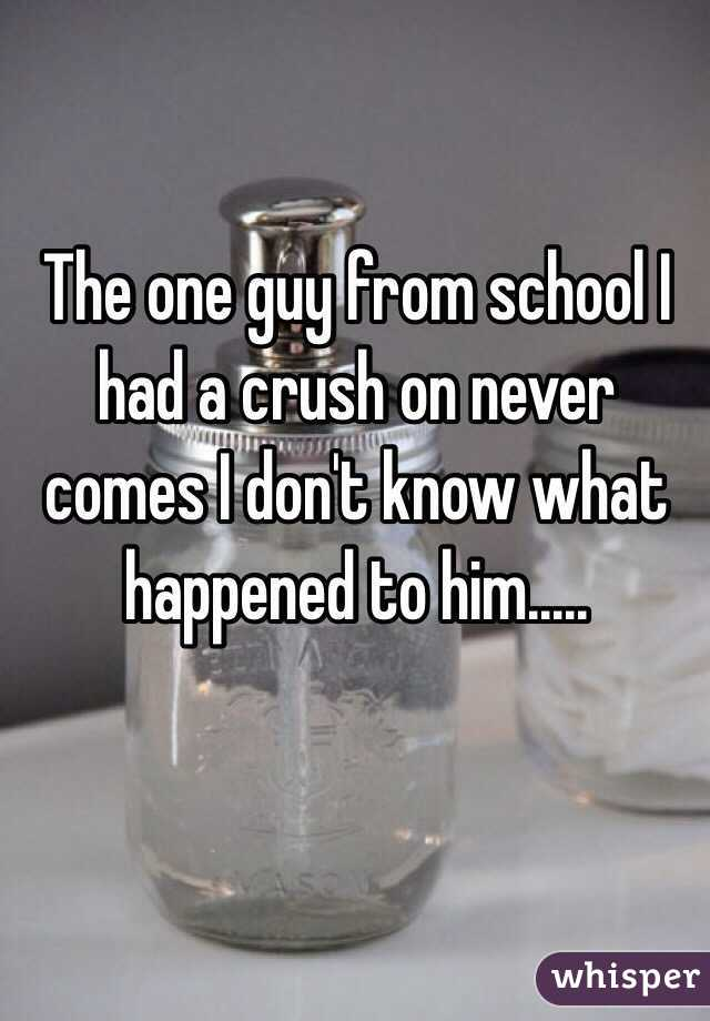 The one guy from school I had a crush on never comes I don't know what happened to him.....