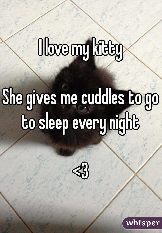 I love my kitty  She gives me cuddles to go to sleep every night   <3