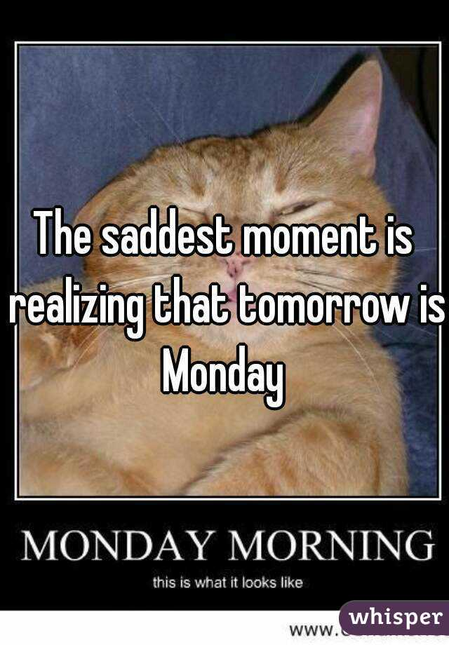 The saddest moment is realizing that tomorrow is Monday