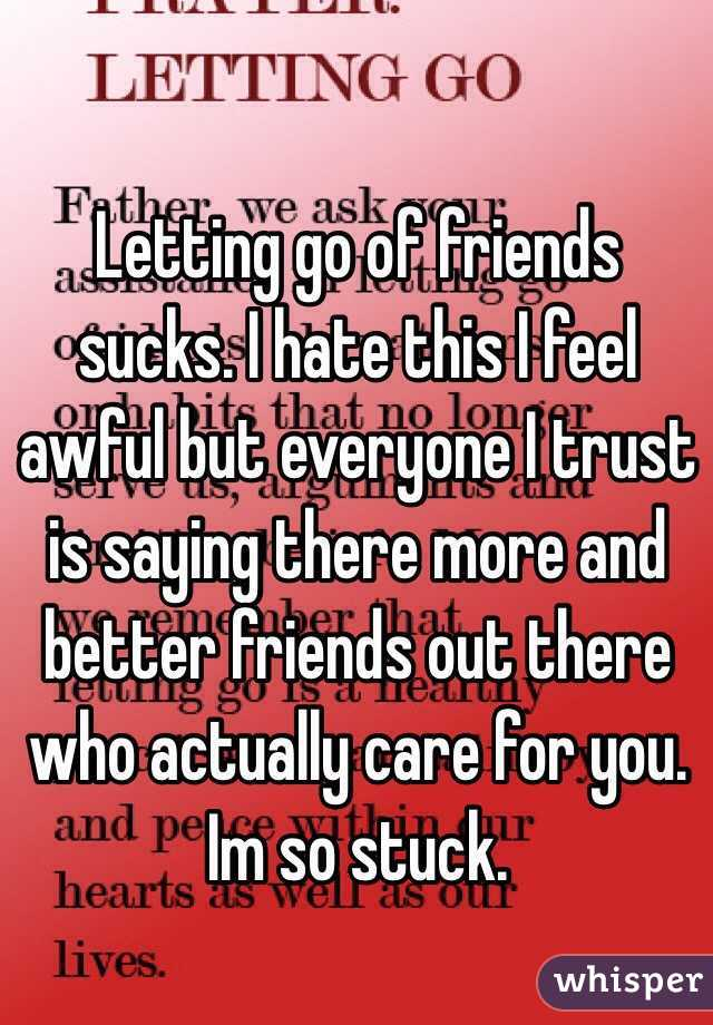 Letting go of friends sucks. I hate this I feel awful but everyone I trust is saying there more and better friends out there who actually care for you. Im so stuck.