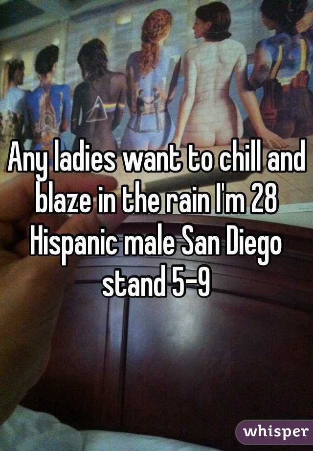 Any ladies want to chill and blaze in the rain I'm 28 Hispanic male San Diego stand 5-9