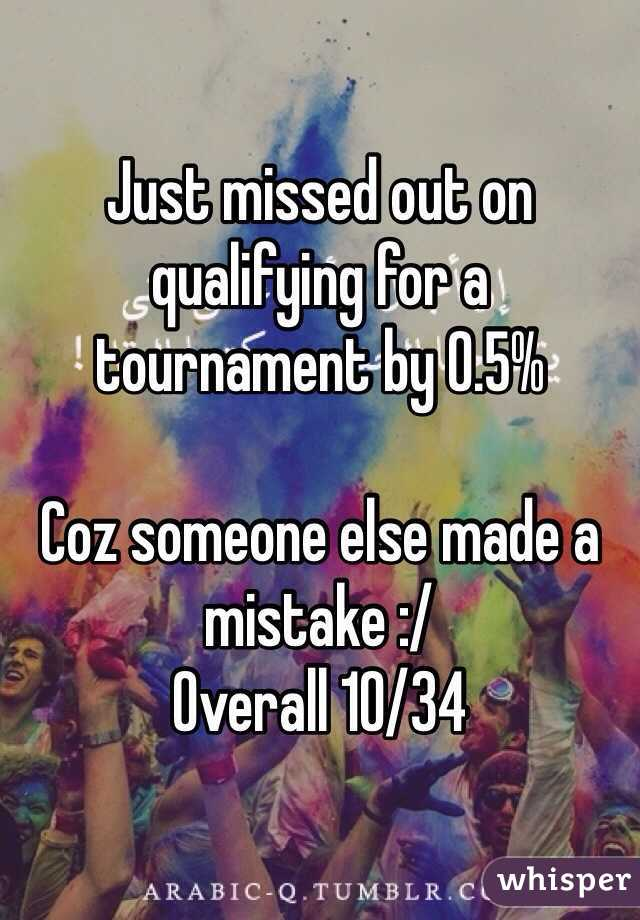 Just missed out on qualifying for a tournament by 0.5%  Coz someone else made a mistake :/ Overall 10/34