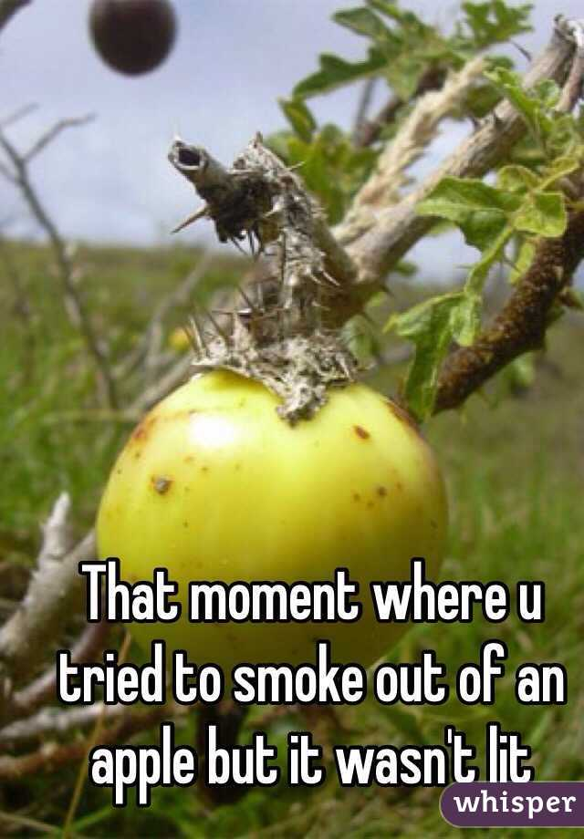 That moment where u tried to smoke out of an apple but it wasn't lit