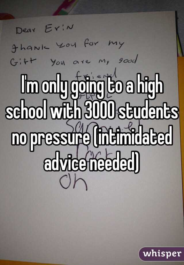 I'm only going to a high school with 3000 students no pressure (intimidated advice needed)