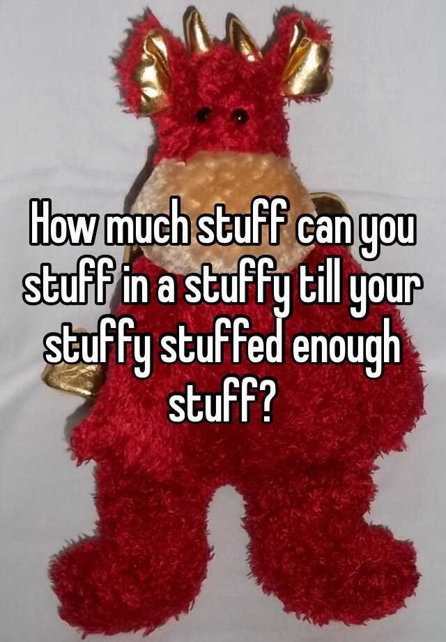 How Much Stuff Can You Stuff In A Stuffy Till Your Stuffy Stuffed