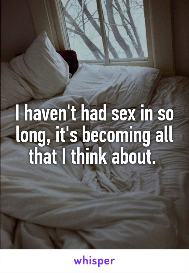 I haven't had sex in so long, it's becoming all that I think about.
