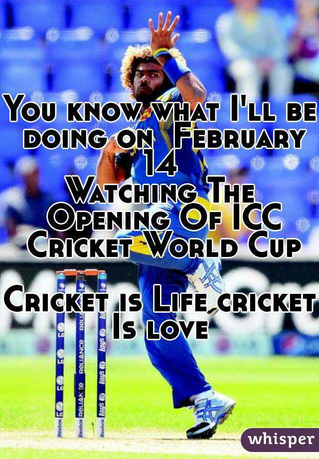 You know what I'll be doing on  February 14  Watching The Opening Of ICC Cricket World Cup  Cricket is Life cricket Is love