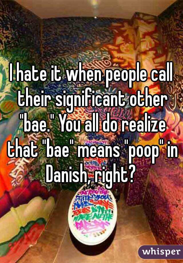 """I hate it when people call their significant other """"bae."""" You all do realize that """"bae"""" means """"poop"""" in Danish, right?"""