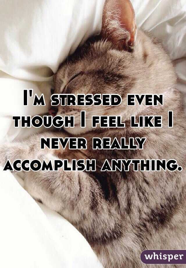 I'm stressed even though I feel like I never really accomplish anything.