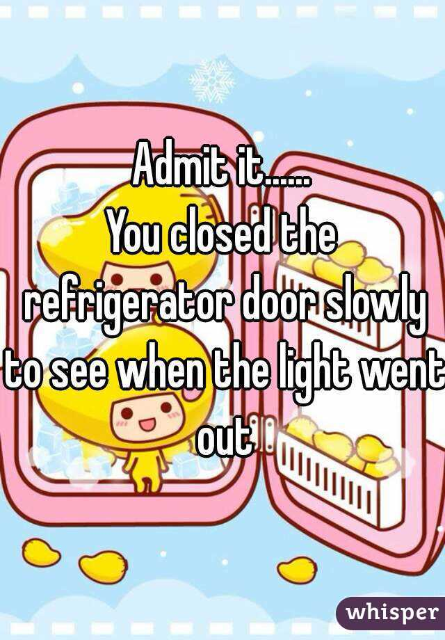 Admit it...... You closed the refrigerator door slowly to see when the light went out