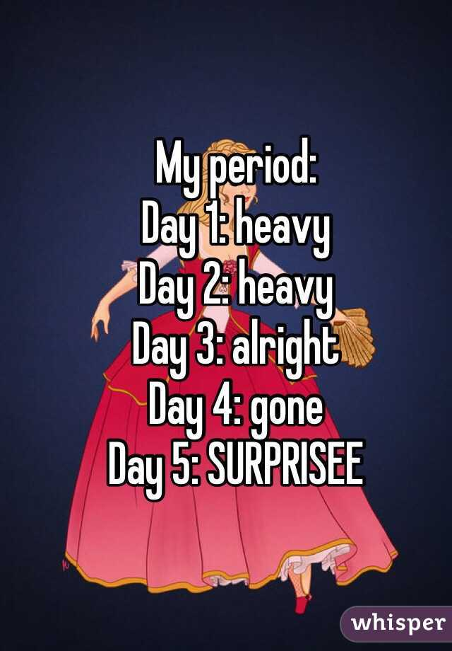 My period: Day 1: heavy  Day 2: heavy  Day 3: alright  Day 4: gone Day 5: SURPRISEE