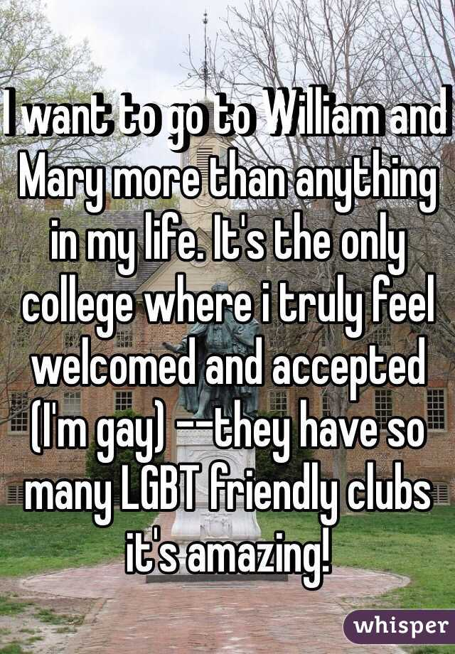 I want to go to William and Mary more than anything in my life. It's the only college where i truly feel welcomed and accepted (I'm gay) --they have so many LGBT friendly clubs it's amazing!