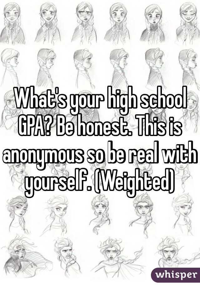 What's your high school GPA? Be honest. This is anonymous so be real with yourself. (Weighted)