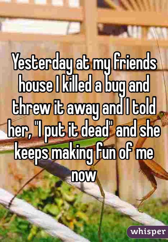 """Yesterday at my friends house I killed a bug and threw it away and I told her, """"I put it dead"""" and she keeps making fun of me now"""