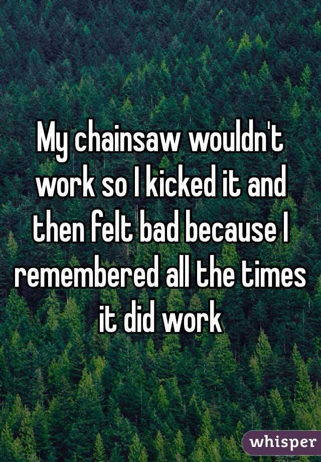 My chainsaw wouldn't work so I kicked it and then felt bad because I remembered all the times it did work