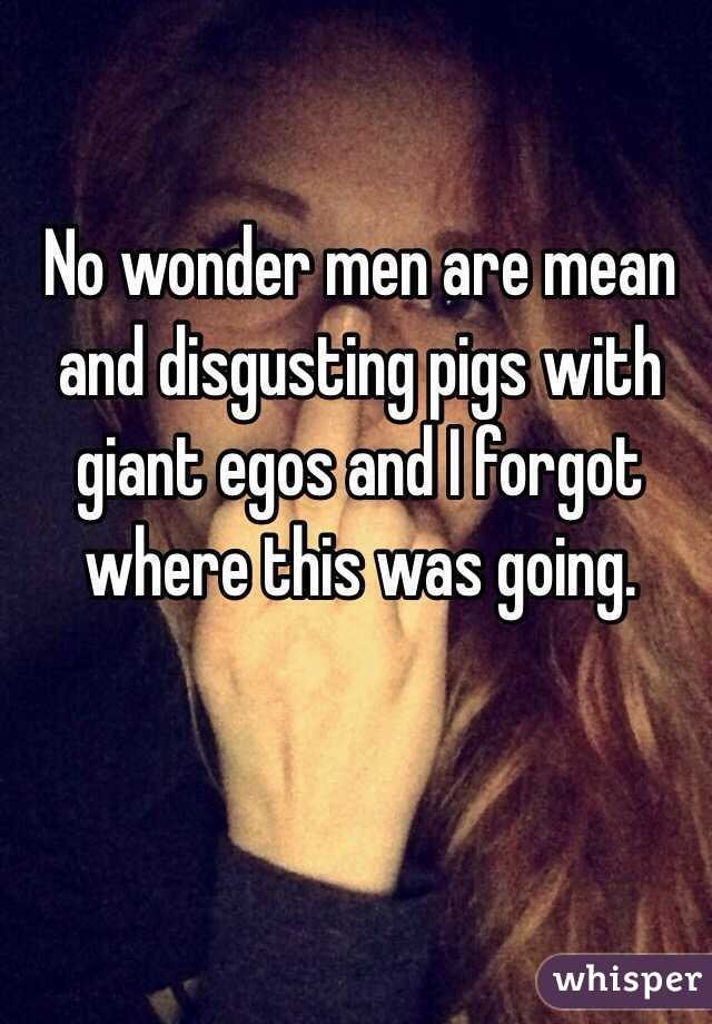 No wonder men are mean and disgusting pigs with giant egos and I forgot where this was going.