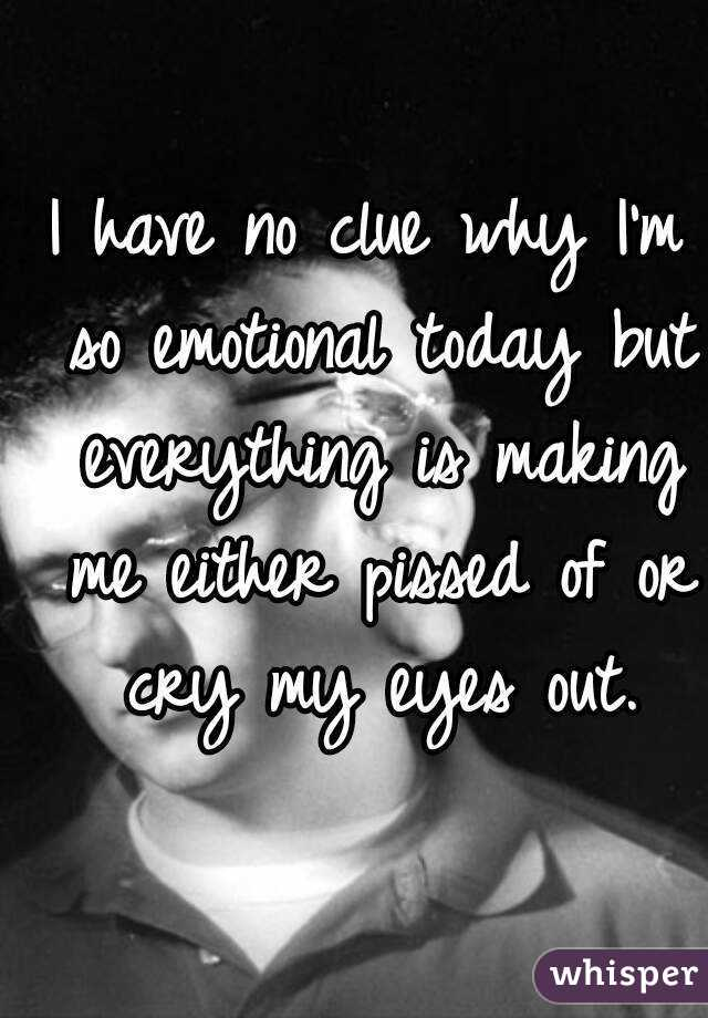 I have no clue why I'm so emotional today but everything is making me either pissed of or cry my eyes out.