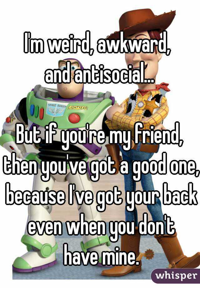 I'm weird, awkward,  and antisocial...  But if you're my friend, then you've got a good one, because I've got your back even when you don't  have mine.