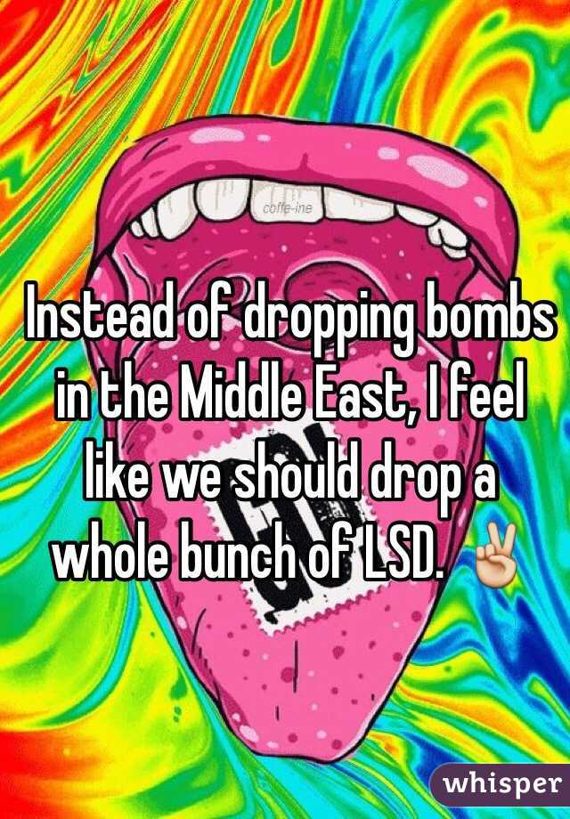Instead of dropping bombs in the Middle East, I feel like we should drop a whole bunch of LSD. ✌️