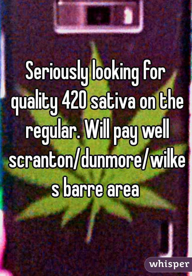 Seriously looking for quality 420 sativa on the regular. Will pay well scranton/dunmore/wilkes barre area