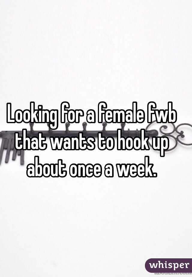 Looking for a female fwb that wants to hook up about once a week.