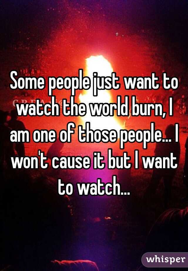 Some people just want to watch the world burn, I am one of those people... I won't cause it but I want to watch...