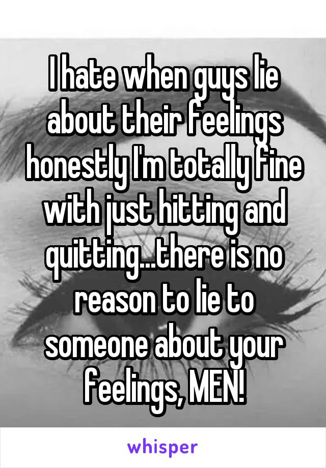 I hate when guys lie about their feelings honestly I'm totally fine with just hitting and quitting...there is no reason to lie to someone about your feelings, MEN!