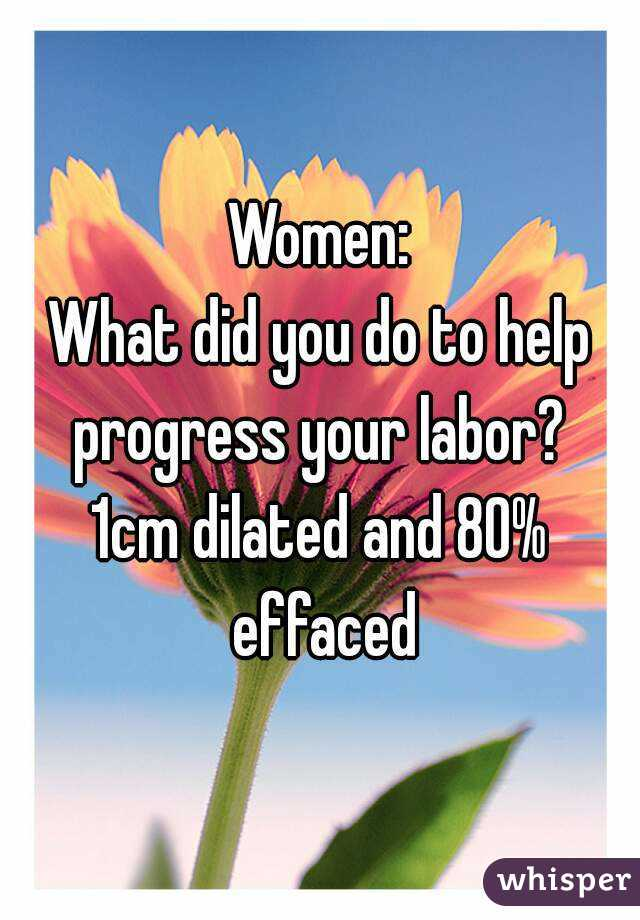 Women: What did you do to help progress your labor? 1cm dilated and 80%  effaced