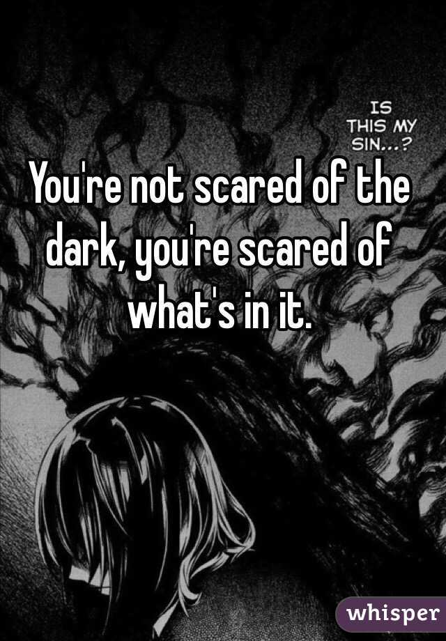 You're not scared of the dark, you're scared of what's in it.