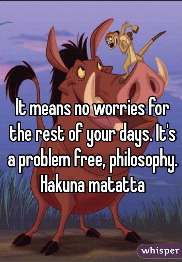 It means no worries for the rest of your days. It's a problem free, philosophy.  Hakuna matatta