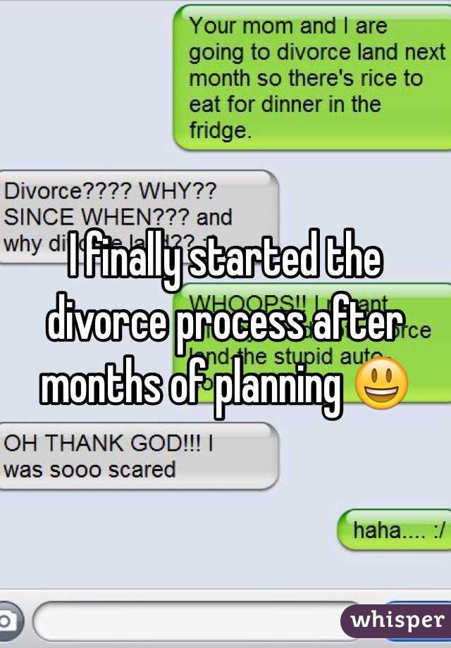 I finally started the divorce process after months of planning 😃