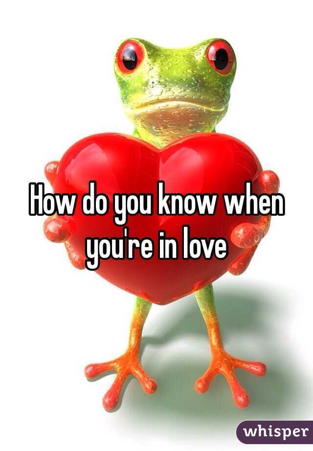 How do you know when you're in love