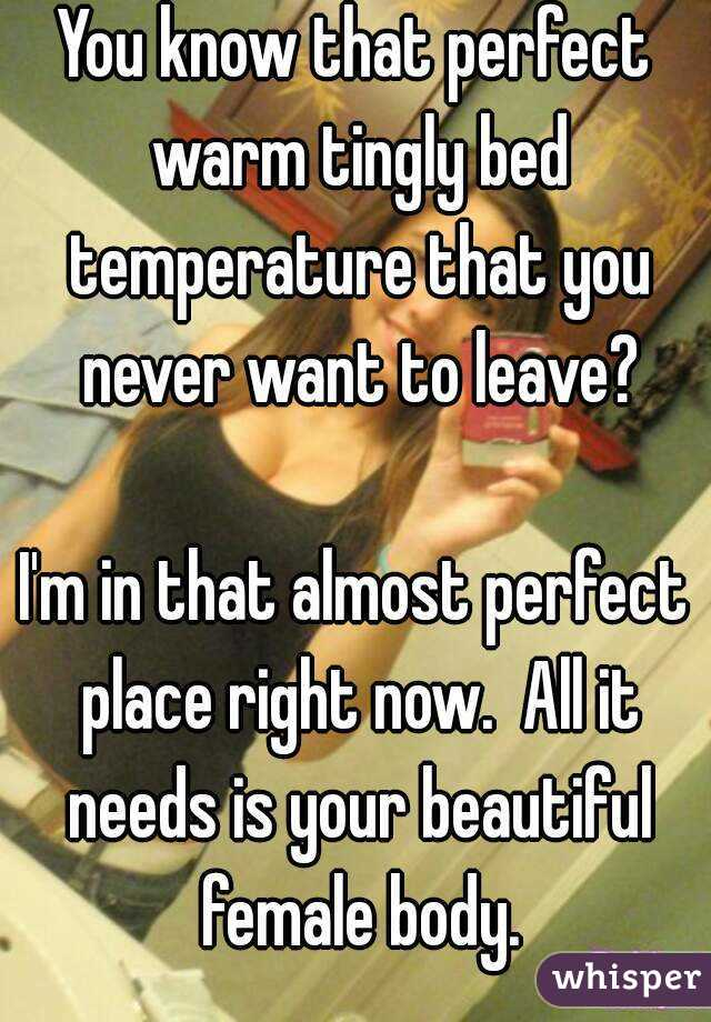 You know that perfect warm tingly bed temperature that you never want to leave?  I'm in that almost perfect place right now.  All it needs is your beautiful female body.