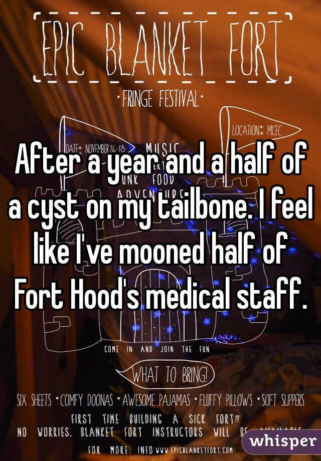 After a year and a half of a cyst on my tailbone. I feel like I've mooned half of Fort Hood's medical staff.