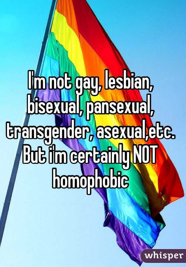 I'm not gay, lesbian, bisexual, pansexual, transgender, asexual,etc. But i'm certainly NOT homophobic