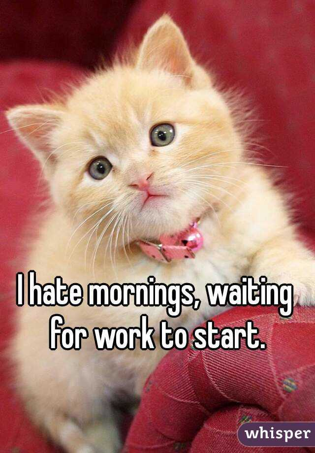 I hate mornings, waiting for work to start.