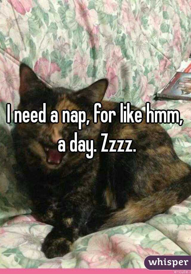 I need a nap, for like hmm, a day. Zzzz.