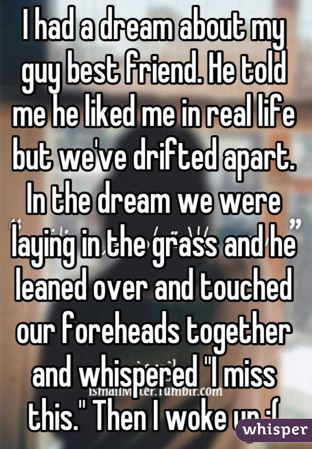"""I had a dream about my guy best friend. He told me he liked me in real life but we've drifted apart. In the dream we were laying in the grass and he leaned over and touched our foreheads together and whispered """"I miss this."""" Then I woke up :("""