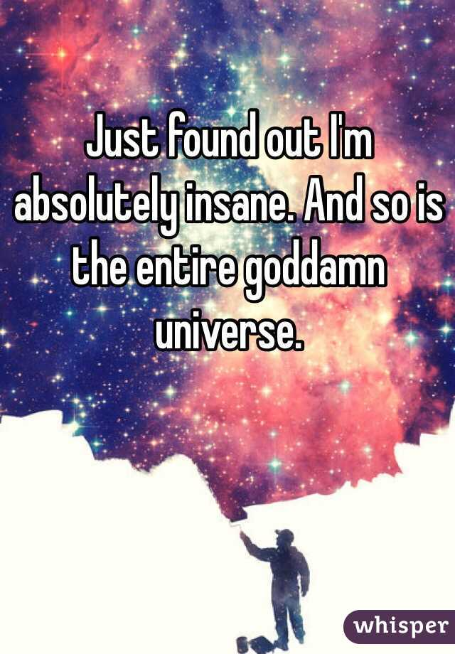 Just found out I'm absolutely insane. And so is the entire goddamn universe.