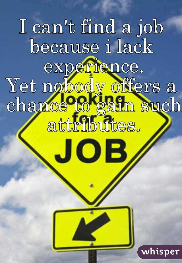 I can't find a job because i lack experience. Yet nobody offers a chance to gain such attributes.