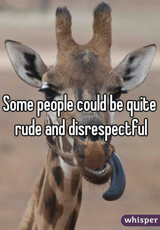 Some people could be quite rude and disrespectful