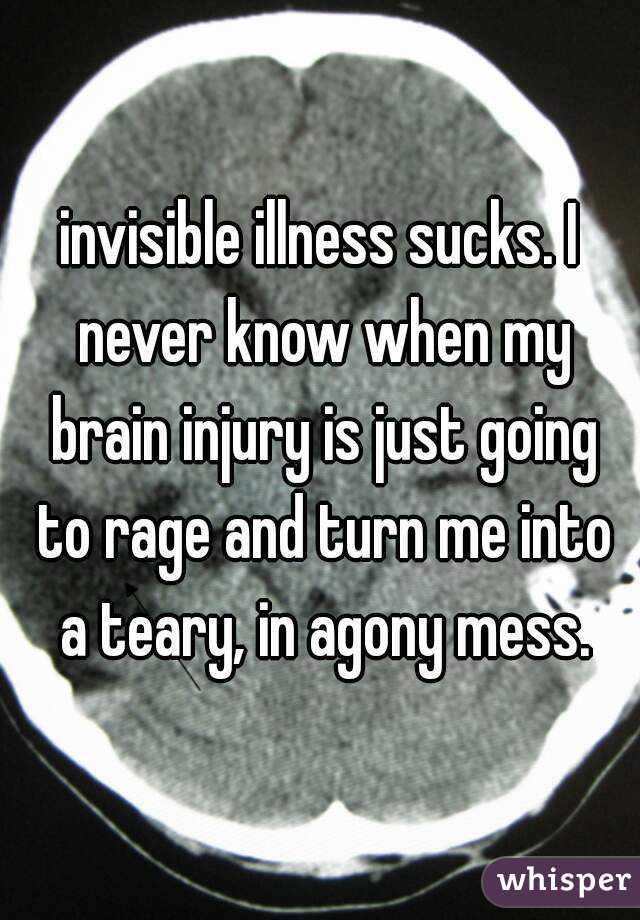 invisible illness sucks. I never know when my brain injury is just going to rage and turn me into a teary, in agony mess.