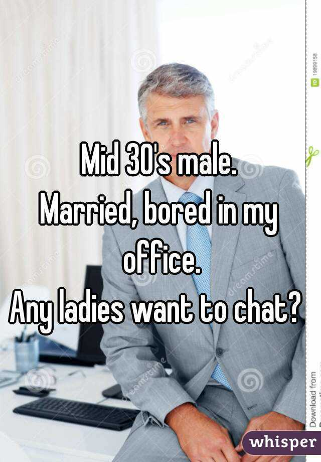 Mid 30's male. Married, bored in my office. Any ladies want to chat?