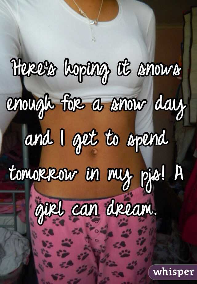 Here's hoping it snows enough for a snow day and I get to spend tomorrow in my pjs! A girl can dream.
