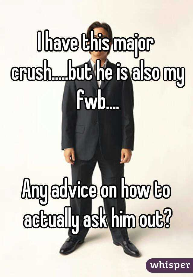 I have this major crush.....but he is also my fwb....   Any advice on how to actually ask him out?