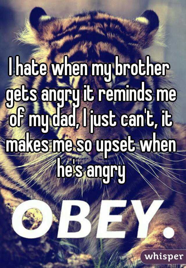 I hate when my brother gets angry it reminds me of my dad, I just can't, it makes me so upset when he's angry
