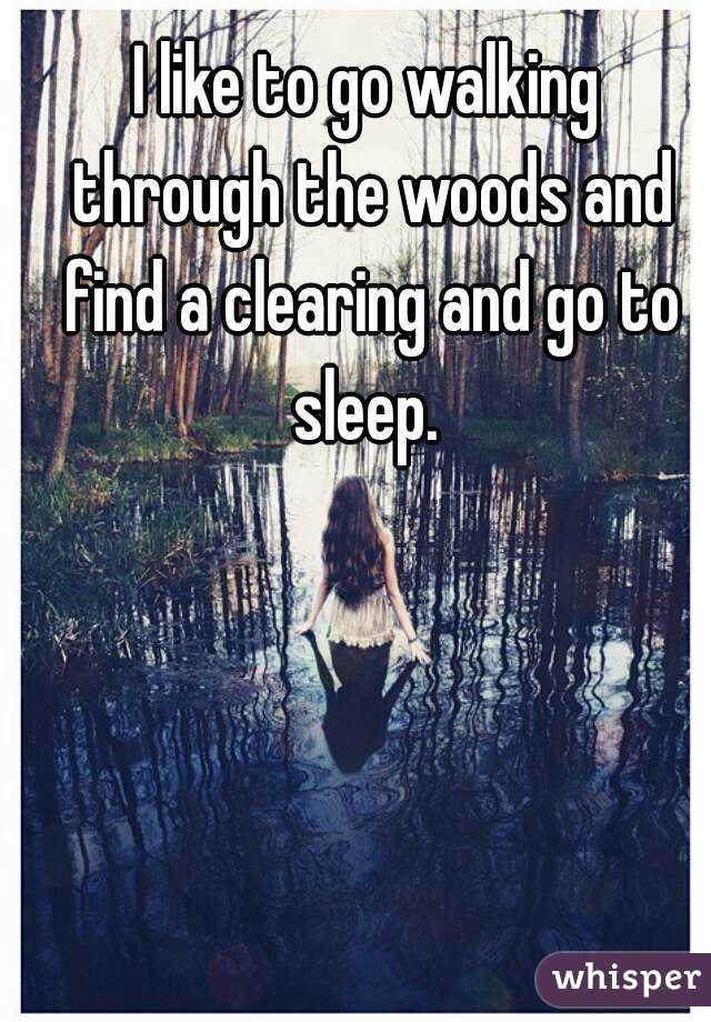 I like to go walking through the woods and find a clearing and go to sleep.