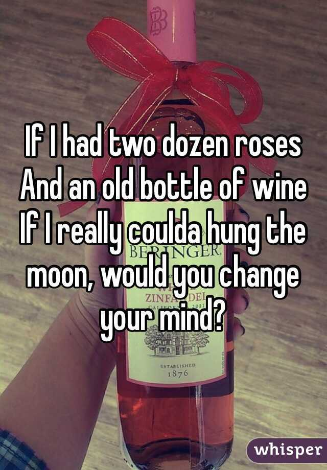If I had two dozen roses  And an old bottle of wine  If I really coulda hung the moon, would you change your mind?