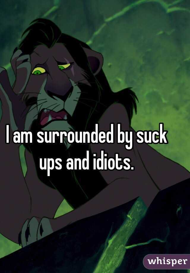 I am surrounded by suck ups and idiots.